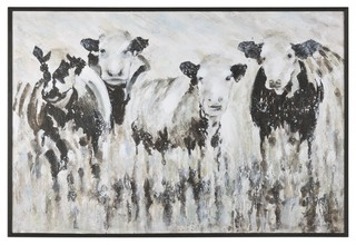 Oversize Modern Farmhouse Cow Painting Black White