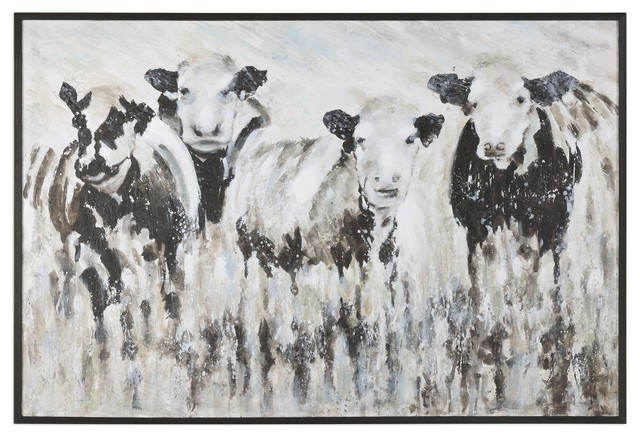 Oversize Modern Farmhouse Cow Painting Black White Abstract Animal