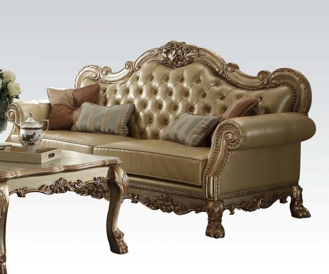 Dresden Collection Classic Elegance Gold Patina Finish Sofa With 4 Pillows  Victorian Sofas Part 75