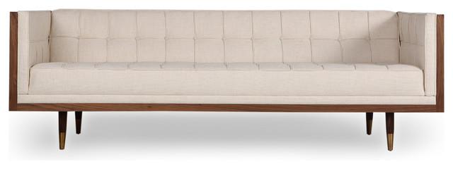 Woodrow Midcentury Modern Box Sofa, Cabana Husk, Base: Walnut.