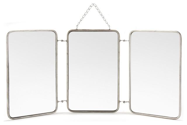 Barbier miroir triptyque 3x 20x32cm contemporain for Miroir triptyque barbier