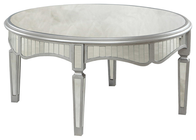 Royal Glam Round Mirrored Silver Coffee, Round Silver Table