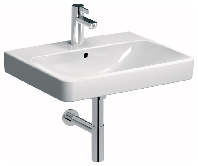 Smyle 24 Wall Mounted Or Drop-In Bathroom Ceramic Sink With Overflow.