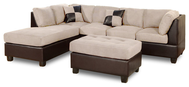 3-Piece Modern Microfiber Faux Leather Sectional Sofa With Chaise, Beige.