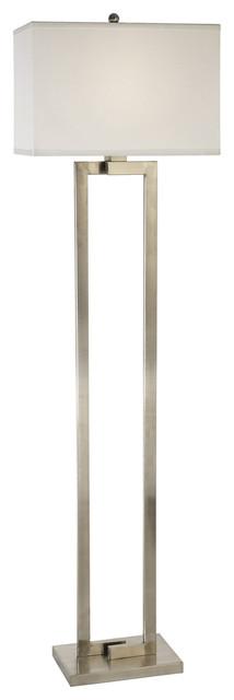 Riley 1-Light Floor Lamp Brushed Nickel Off-White Shantung S