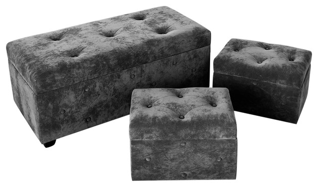 Plush Cushioned Pouffes, Dark Grey, Set of 3