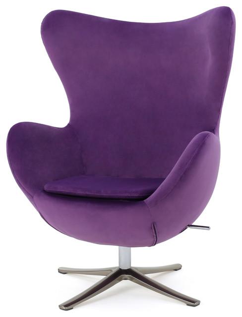 Glendon Retro 70u0027s New Velvet Swivel Chair, Eggplant