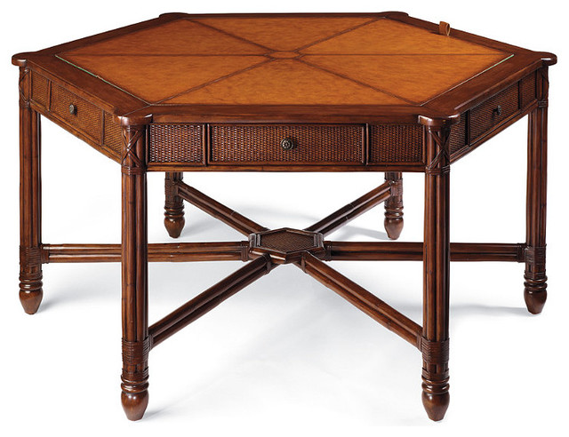 Cayman Hexagonal Game Table With Four Chairs Traditional Living Room