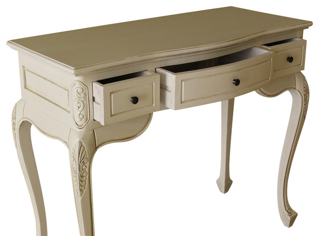 Hand Carved Wood Antique White 3 Drawer Vanity Desk  Contemporary Bedroom And