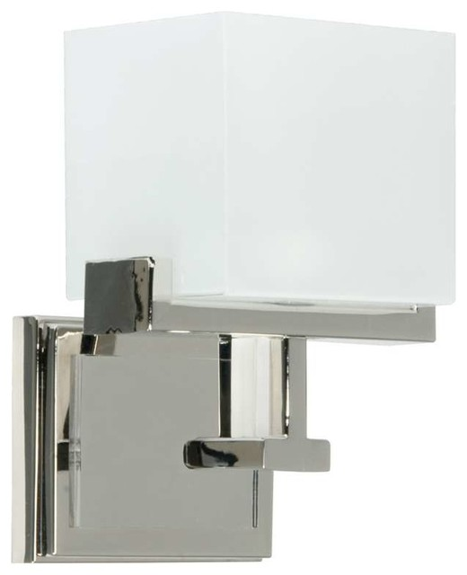 Kade 1 Light Wall Sconce Polished Nickel Contemporary Bathroom Vanity Li