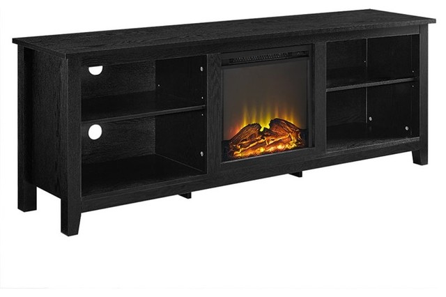 Walker Edison 70 Wood Fireplace Tv Stand In Black Transitional