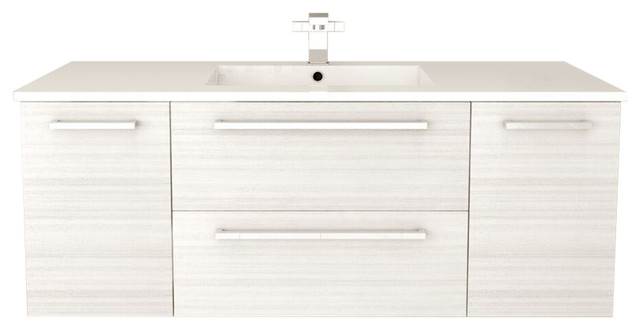 silhouette collection 2-drawer 2-door wall-mounted vanity, white