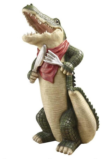 Hungry Alligator Crocodile Kitchen Statue Sculpture