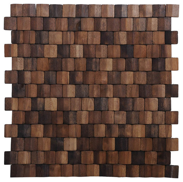 """Contemporary Wall Tile 15.75""""x15.75"""" terrace wood mosaic multi brown wall tiles, set of 6"""