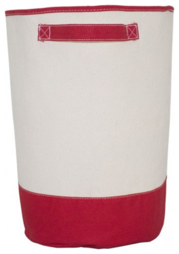 Monogrammed Hamper Red, White Thread, Shelly Font, A.