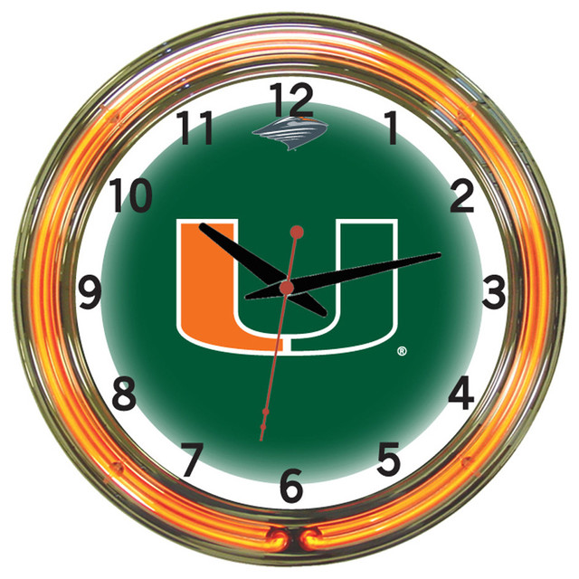 Wall Clocks With Neon Lights : Shop Houzz Wave 7 Miami Hurricanes 18