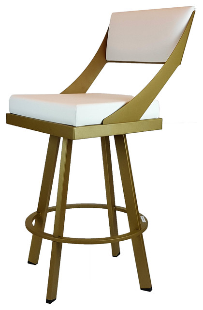 Gold Metal Frame Swivel Counter Stool With White Seat