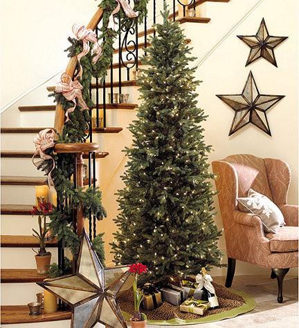 Slim Profile Angel Pine Pre Lit Christmas Tree  Traditional Holiday Decorations