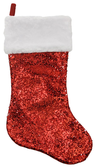 20 shiny red holographic sequined christmas stocking with white faux fur cuff