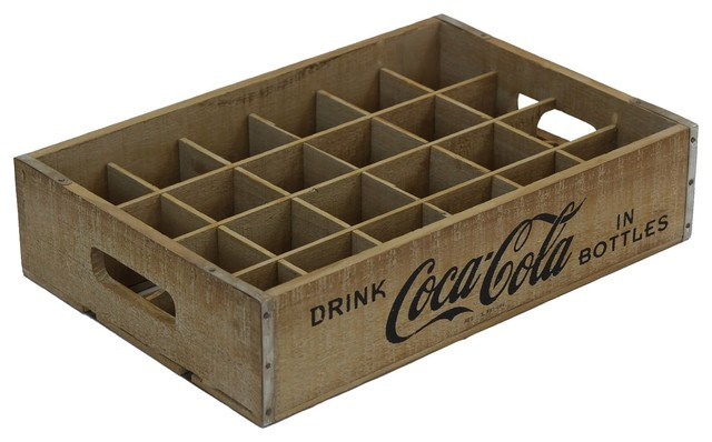 Rustic 24-Grid Divided Coca-Cola Crate