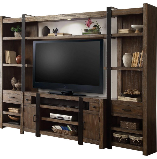 pine entertainment center western style parker house tribeca 4piece entertainment wall in weathered pine