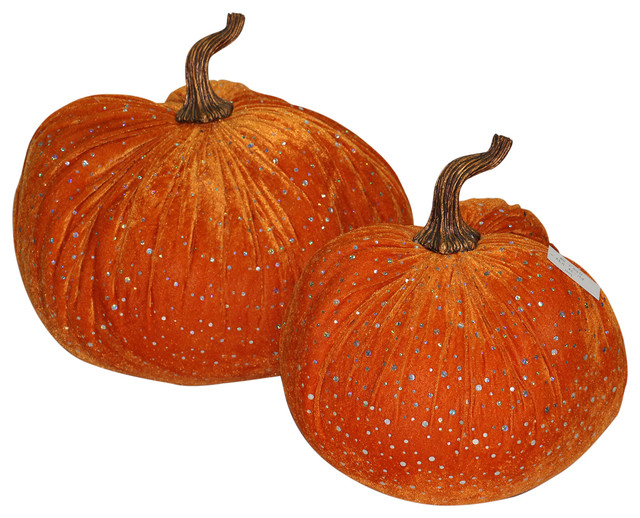 Two Large Luscious With Bling Bling Sequins Velvet Pumpkins.