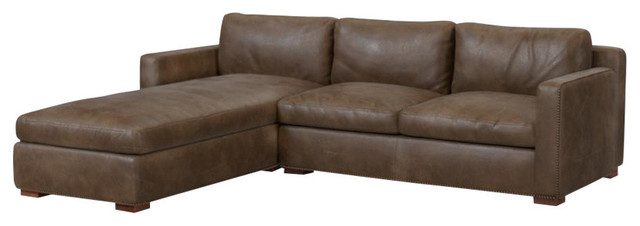 Tribecca Sofa Chaise, Whiskey Leather, Left Hand Facing.