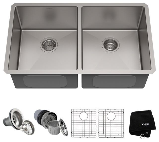 "33"" Undermount Stainless Steel Kitchen Sink, Double 50/50 Bowl 16 Gauge"