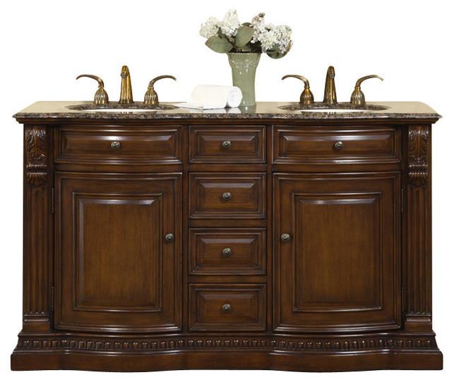 Samantha Double Sink Bathroom Vanity, Baltic Brown Granite Stone Top, 60.