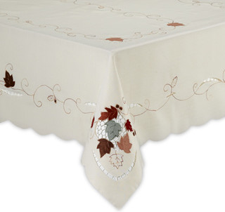 Leaf with Acorn Embroidered Oblong Tablecloth modern table linens