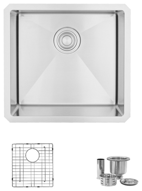 """STYLISH 19""""L x 18""""W Undermount Kitchen Sink Single Bowl with Grid and Strainer"""