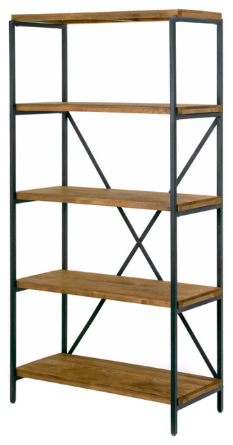"Ailis 67"" Brown Pine Wood Shelf Etagere Bookcase Media Center With Metal Frame."