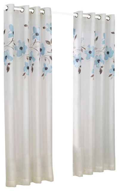 "Eden Faux Silk Floral Curtain Panel, Mist, 52""x95""."