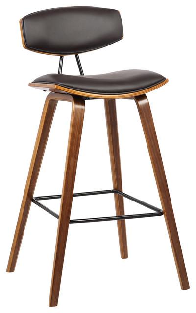 Excellent Fox Mid Century Walnut Wood Bar Stool Brown Bar Height Cjindustries Chair Design For Home Cjindustriesco