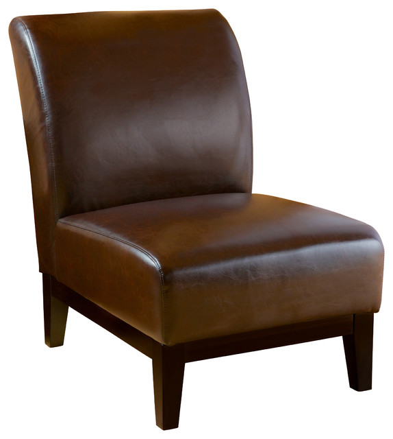 Brakar Brown Leather Armless Chair Transitional