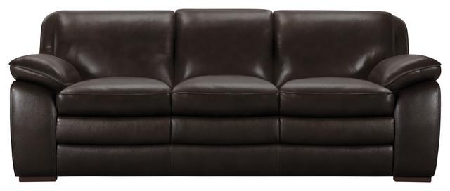 Zanna Contemporary Sofa, Genuine Dark Brown Leather With Brown Wood Legs
