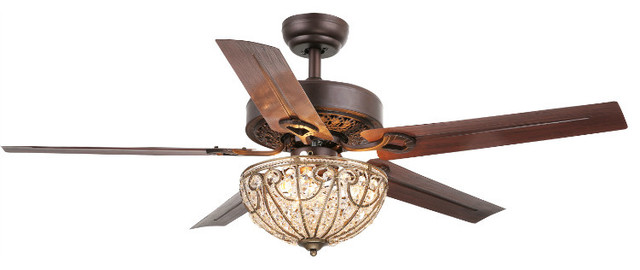 Warehouse Of Tiffany 3-Light Ceiling Fan, Brown Finish.