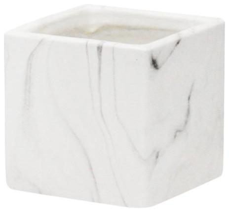 Indoor Ceramic Marble Pot, Set of 3, White Marble