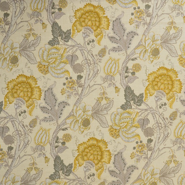 Yellow Gray Neutral Floral Print Upholstery Fabric Traditional