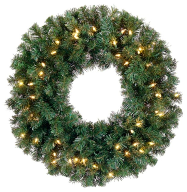 "Windsor Pine Artificial Wreath, Clear Lights, 12""."