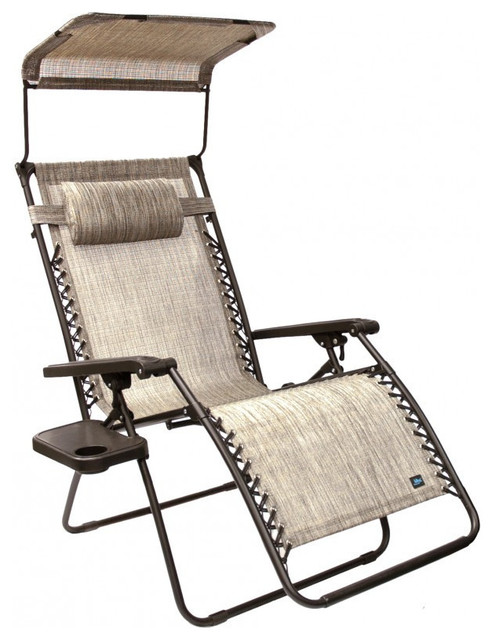 Patio Bliss Gravity Free Chair With Sun Shade And Cup Tray, Platinum  Contemporary