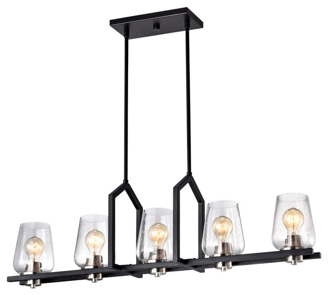 5 Light Black Wrought Iron Linear Kitchen Island Chandelier With Gl Shade