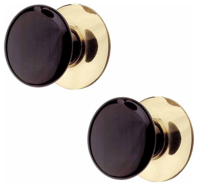 The Renovator's Supply Inc. - 2 Cabinet Knob Black Porcelain Solid Brass Backplate - View in ...
