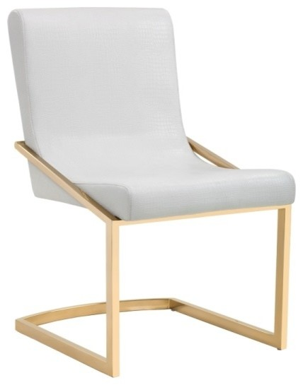 Modern Dining Chair With Crocodile Patterned Seat, White.