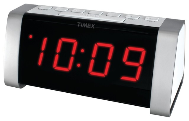 timex am fm dual alarm clock radio 1 8 led display with auxiliary input white contemporary. Black Bedroom Furniture Sets. Home Design Ideas