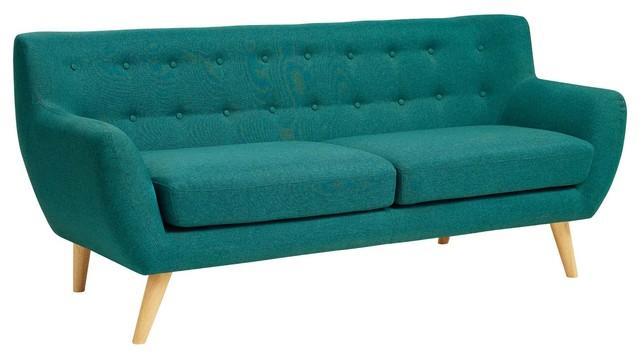 Remark Upholstered Fabric Sofa, Teal