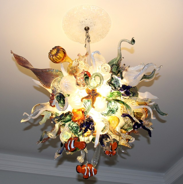 Blown glass chandelier art glass lighting coral reef chandelier home design mid sized beach style home design idea in new york aloadofball Image collections