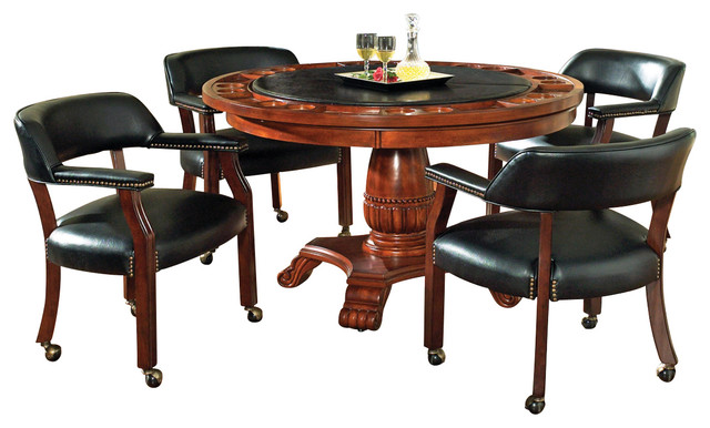 Steve Silver Tournament 5-Piece Game Table Set, Brown