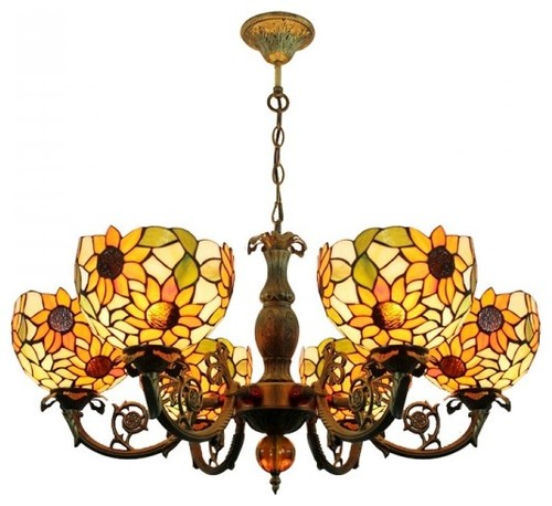 Tiffany Sunflower Ceiling Lighting Chandelier 6 Lights