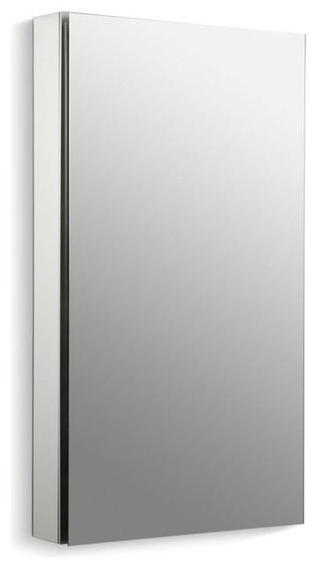 "Kohler Catalan Mirrored Cabinet 170 Degree Hinge, Satin Anodized Aluminum, 20""."